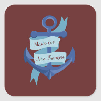 Personalized Save the Date Blue Anchor Square Sticker