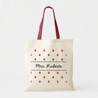 Personalized school teacher tote bag | red apples