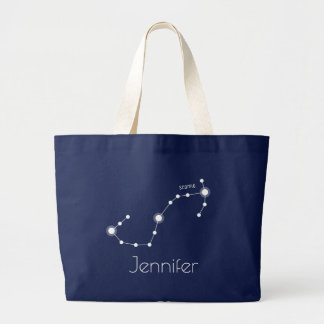Personalized Scorpio Zodiac Constellation Large Tote Bag