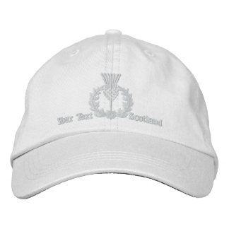 Personalized Scottish Thistle Scotland in white Embroidered Hats
