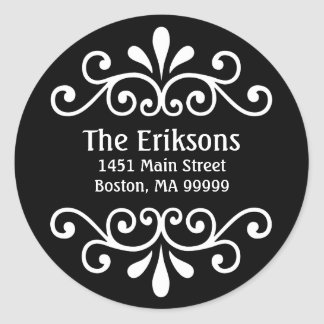 Personalized Scroll Address Labels in Black