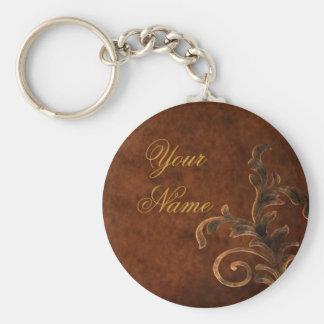 Personalized Scroll Leaf Keychain