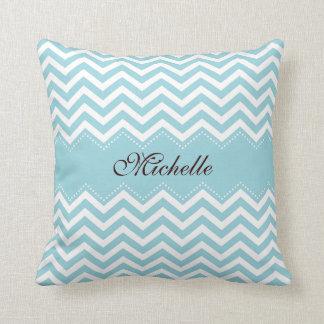 Personalized sea blue zigzag chevron pattern cushion