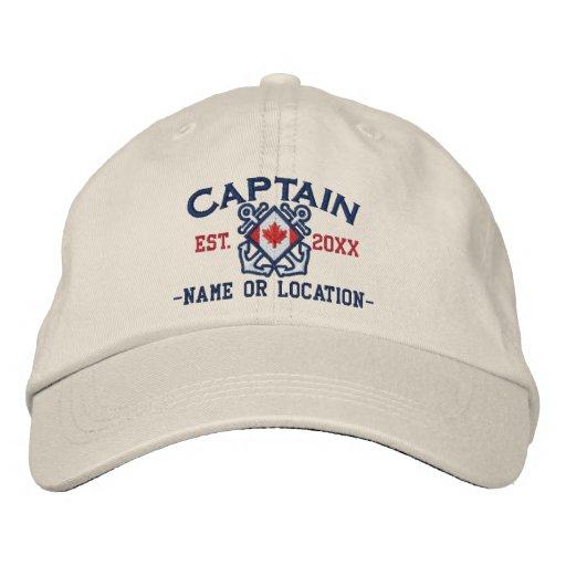 Personalized Sea Captain Nautical Canadian Flag Embroidered Baseball Cap