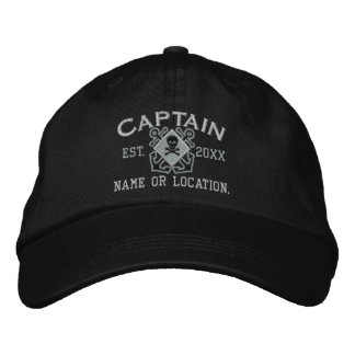 Personalized Sea Captain Nautical Crossbones Skull Embroidered Hat