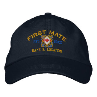 Personalized Sea First Mate Nautical Canadian Flag Embroidered Baseball Cap