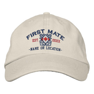 Personalized Sea First Mate Nautical Canadian Flag Embroidered Baseball Caps