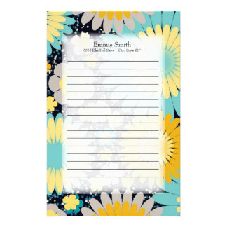 Personalized Sea Foam Green Yellow Gray Floral Stationery