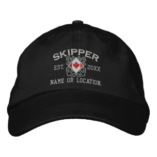 Personalized Sea Skipper Nautical Canadian Flag Embroidered Hat