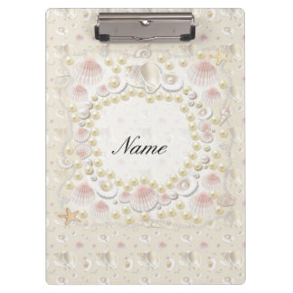 Personalized Seashells and Pearls Clipboard
