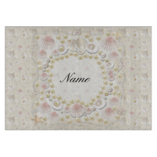 Personalized Seashells and Pearls Cutting Board