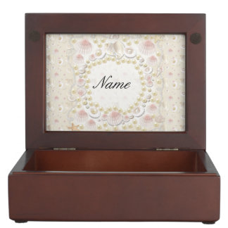 Personalized Seashells and Pearls Keepsake Box