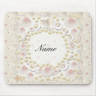 Personalized Seashells and Pearls Mouse Pad