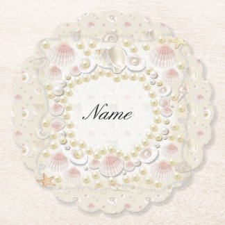 Personalized Seashells and Pearls Paper Coaster