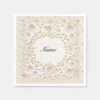 Personalized Seashells and Pearls Paper Napkin