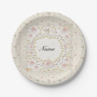 Personalized Seashells and Pearls Paper Plate