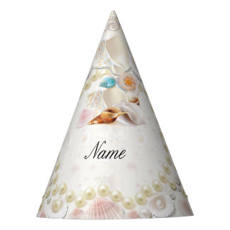 Personalized Seashells and Pearls Party Hat