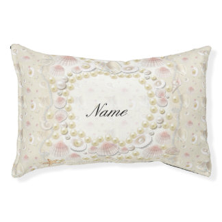 Personalized Seashells and Pearls Pet Bed