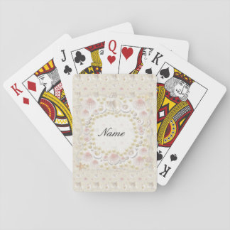 Personalized Seashells and Pearls Playing Cards
