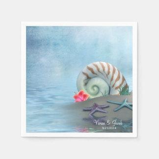 Personalized Seashells Wedding Napkins Disposable Napkin