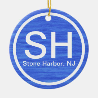 Personalized SH NJ Stone Harbor New Jersey Beach Ceramic Ornament