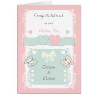 Personalized shabby chic Wedding Day Card