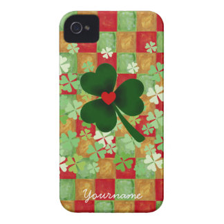 Personalized Shamrock and color grid Case-Mate iPhone 4 Case