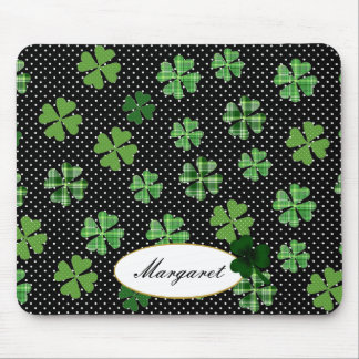 Personalized Shamrock and Four Leaf Clover Mouse Pad