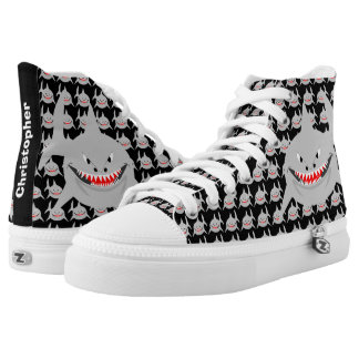 Personalized Shark Black High Tops