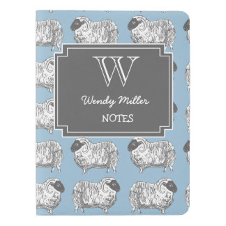 Personalized Sheep Print Powder Blue Notebook