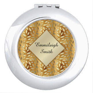 Personalized Shiny Gold Leaves Monogram Mirror For Makeup