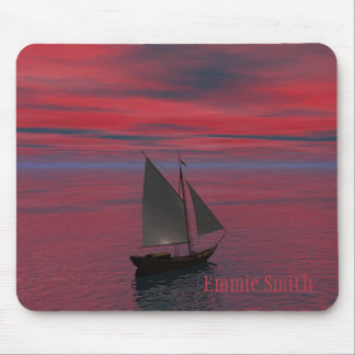 Personalized Ship Sailing into the Sunset Mousepad