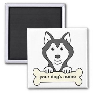 Personalized Siberian Husky Square Magnet