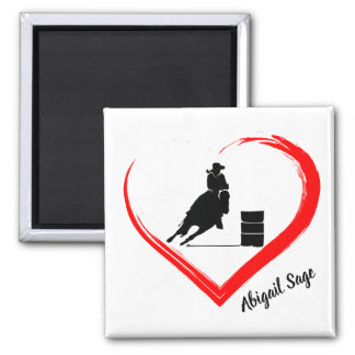 Personalized Silhouette Barrel Racing Horse, Heart Magnet