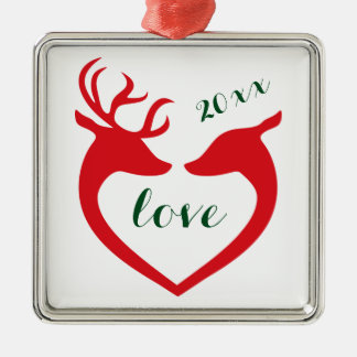 Personalized Silhouette Heart Deer Couple in Love Metal Ornament