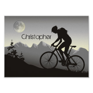 Personalized Silhouette Mountain Bike Poster