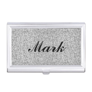 Personalized Silver Glitter Business Card Holder