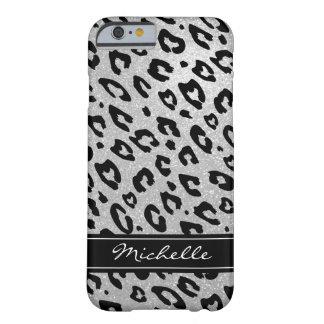 Personalized silver glitter leopard iPhone 6 case
