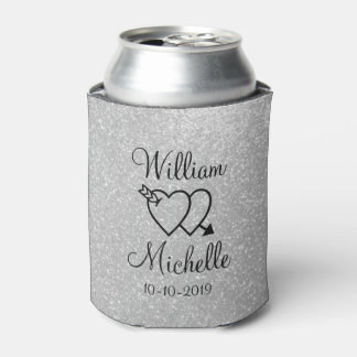 Personalized silver glitter wedding can coolers