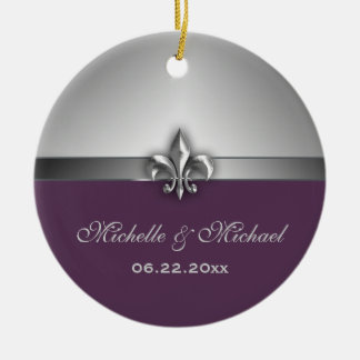 Personalized Silver Purple Fleur de Lis Ceramic Ornament