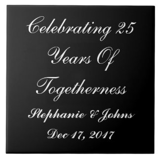Personalized Silver Wedding Anniversary Display2 Large Square Tile
