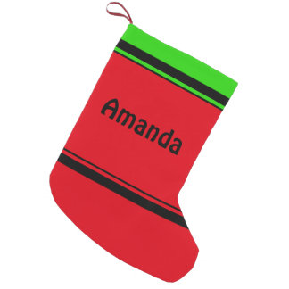 Personalized Simple Classic Red Green Black Stripe Small Christmas Stocking