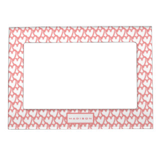 Personalized Simple Pink Hearts Pattern Magnetic Frame