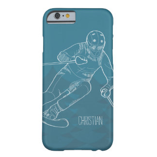 Personalized Skier Sketched Drawing on Blue Barely There iPhone 6 Case