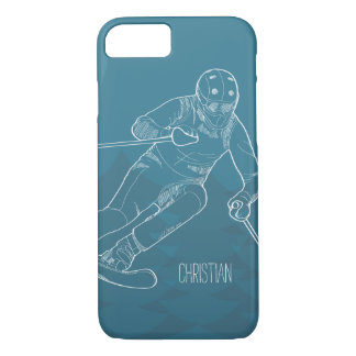 Personalized Skier Sketched Drawing on Blue iPhone 8/7 Case