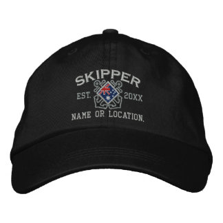 Personalized Skipper Nautical Australian Flag Embroidered Cap
