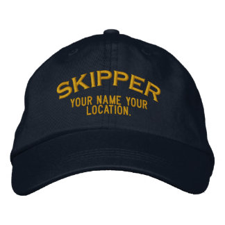 Personalized Skipper Nautical Style Hat Embroidered Cap