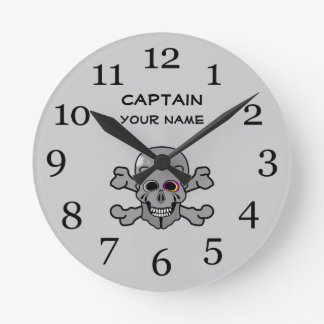 Personalized skull and Cross bones Round Clock