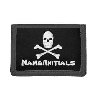 Personalized Skull and Crossbones Trifold Wallet