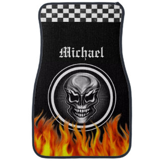 Personalized Skull and Flames Car Mats